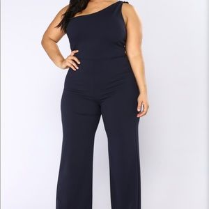 Navy One Shoulder Fashion Nova Jumpsuit